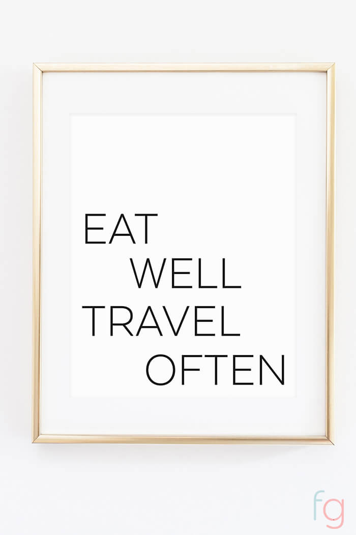 Free Printable Wall Art | Apartment Kitchen Decor Ideas | Free Printable Kitchen Art | Free Kitchen Printables Black and White | Eat Well Travel Often | Kitchen Gallery Wall Printables