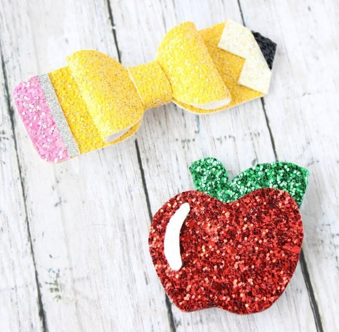 Pencil and Apple Back to School Hair Clip Set