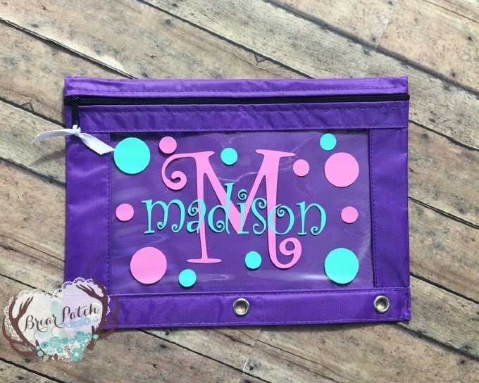 Personalized Monogrammed Pencil Pouch