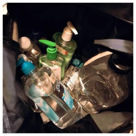 bag of hand sanitizer