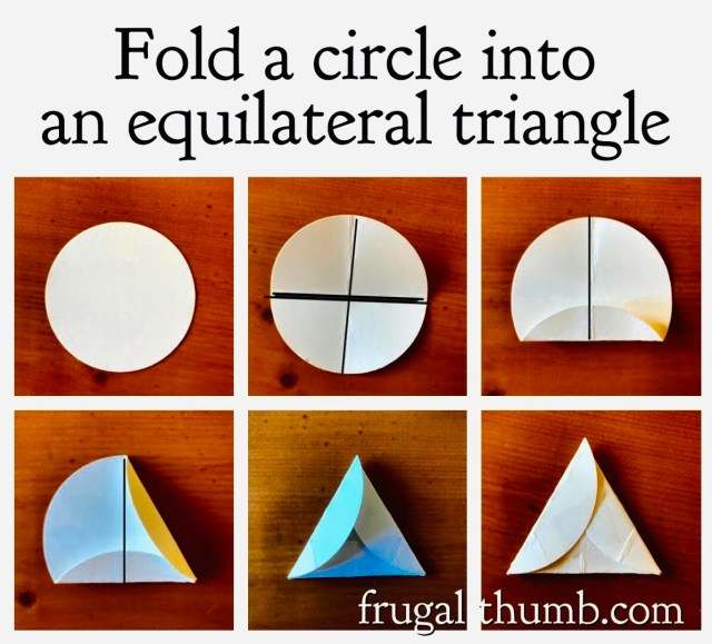 How to fold a triangle template from a circle