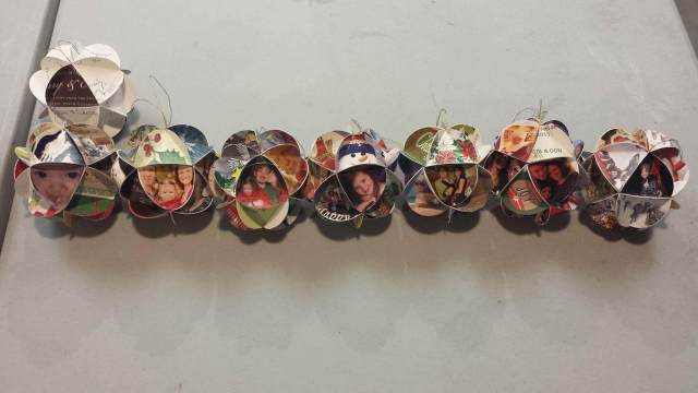 Christmas card ornaments through the years