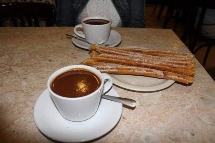 Thick, delicious hot chocolate and churros at El Moro -Perfect Day in Mexico City