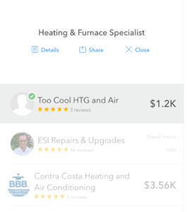 Some bids for my furnace replacement - Thumbtack