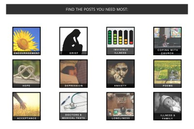 Screenshot of illness and grief support categories, from home page.