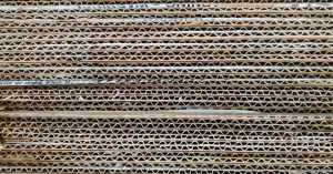 Close shot of a stack of corrugated fiberboard