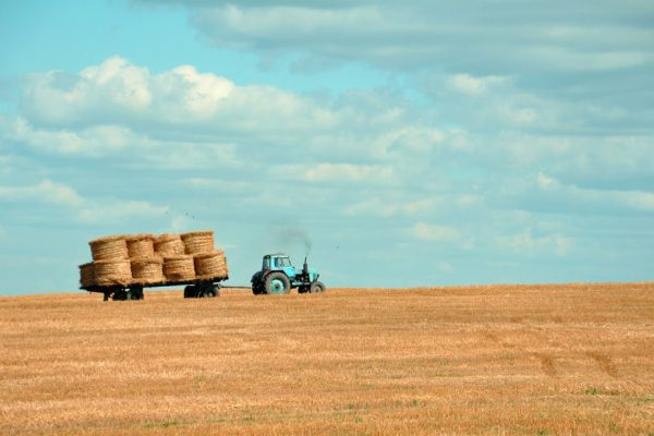 Blue tractor pulling bales of hay across field