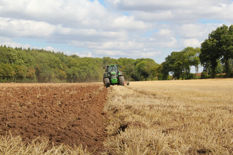 Tractor tilling field of soil and grass