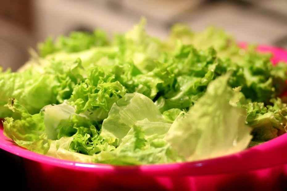 A pink plastic salad bowl of green lettuce