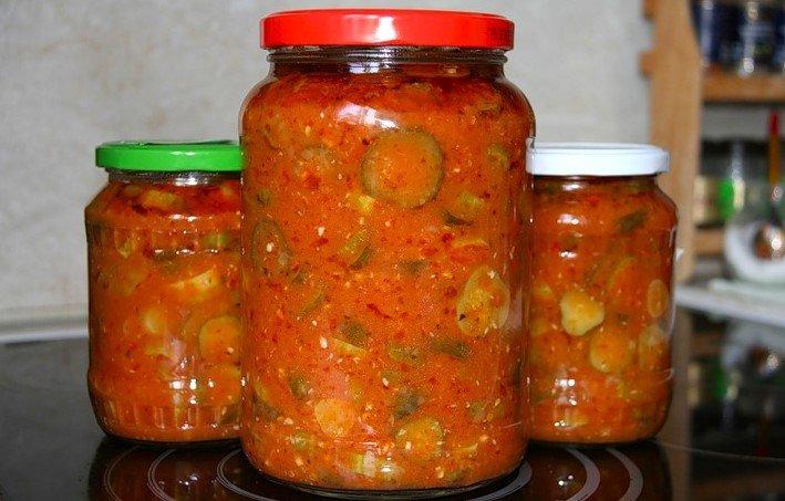 Салат из огурцов с томатной пастой на зиму