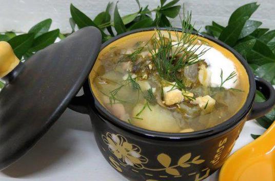 Щавелевый суп с грибами и помидорами