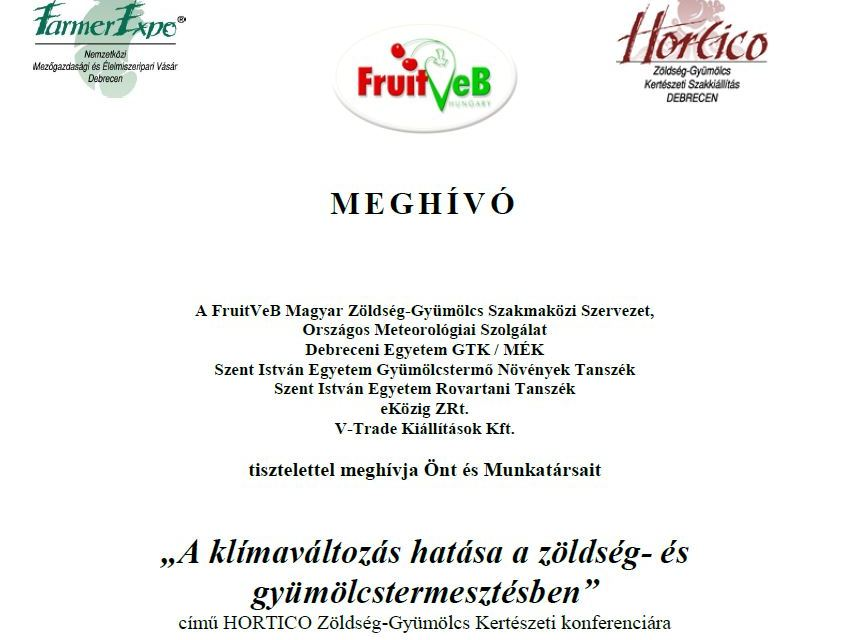 MEGHÍVÓ a 28. Farmer Expo Szakkiállítás Hortico Zöldség-Gyümölcs Szakmai Konferenciájára