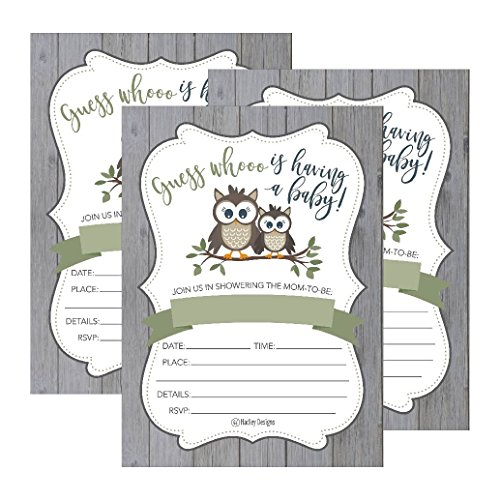 25 Cute Rustic Owl Woodland Forest Baby Shower Invitations