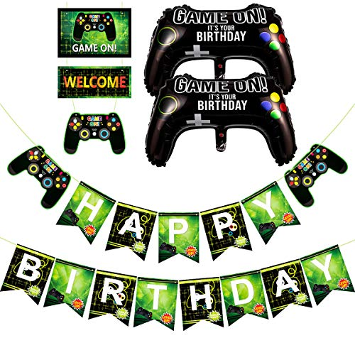 Printable Video Game Birthday Banner Video Game Party Banner Girl Gamer Party Banner Happy Birthday Banner Gaming Party Instant Download Paper Party Supplies Party Decor