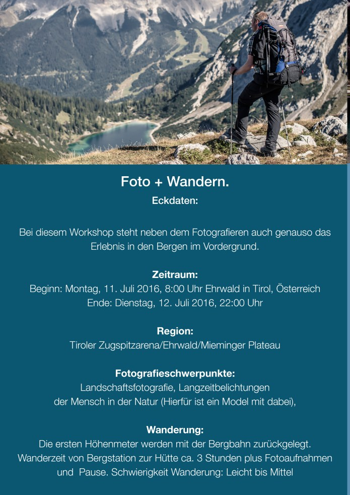 Flyer Fotoworkshop in Tirol 11. bis 12. Juli 20162