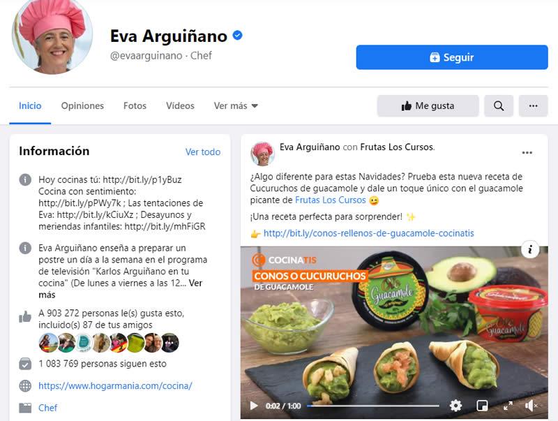 Eva Arguiñano en Facebook