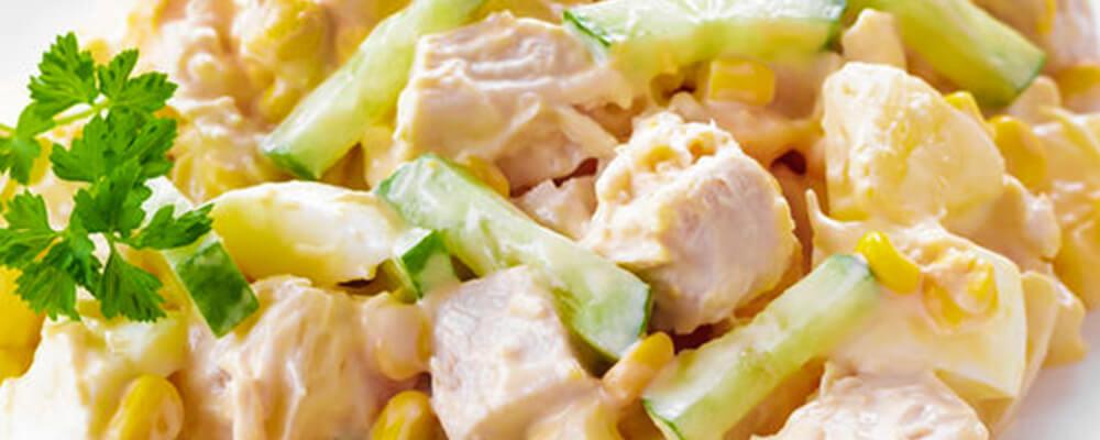 Ensaladilla de pollo con piña y calabacín