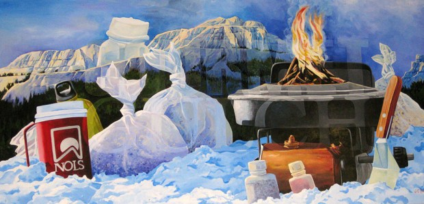 A painting of a Fry-Bake pan in use