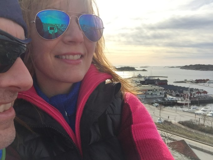 A selfie with the fjord and Stromstad, Sweden in the back.