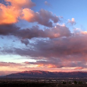 Sandias with pink sunset clouds - End of the Line