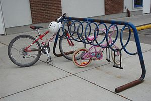 A bike rack situated outside of the Calgary Wi...