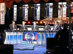 From left to right, Mel Kiper Jr., Jon Gruden,...