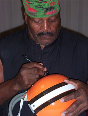 Jim Brown at autograph show in Los Angeles, CA...