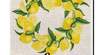 Welcome Lemon Wreath Small Summer Garden Flag