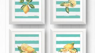 4 Limoncello Lemon Wall Art Prints