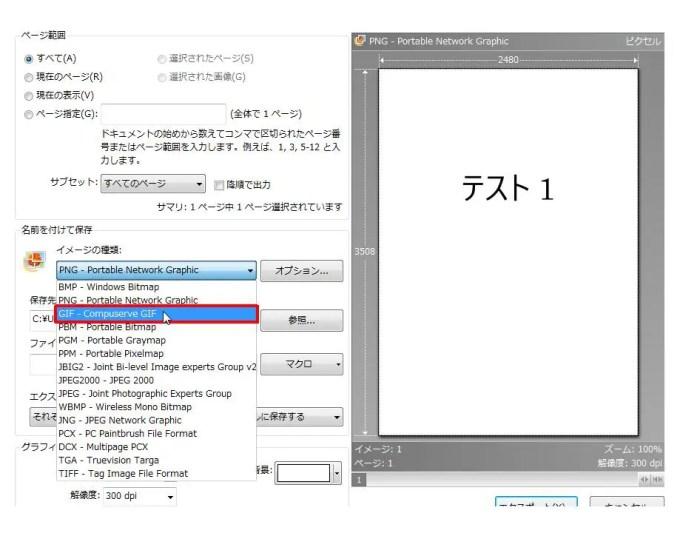 [名前を付けて保存] グループの [イメージの種類] コンボ ボックスリストの [GIF - Compuserve GIF] をクリックします。