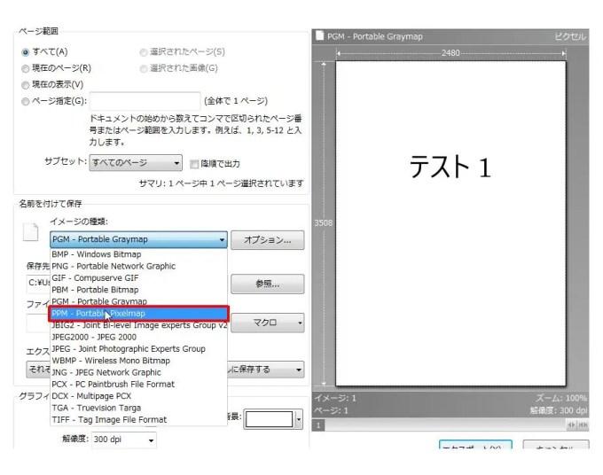 [名前を付けて保存] グループの [イメージの種類] コンボ ボックスリストの [PPM - Portable Pixelmap] をクリックします。