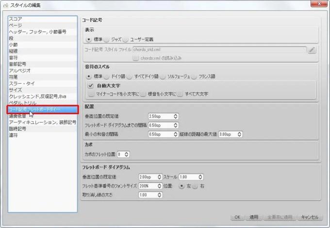 楽譜作成ソフト「MuseScore」[ペダル・トリル・コード記号・フレッドボードダイ][コード記号,フレットボードダイアグラム] を選択できます。