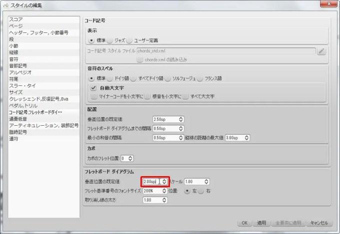楽譜作成ソフト「MuseScore」[ペダル・トリル・コード記号・フレッドボードダイ][フレットボード ダイアグラム] グループの [垂直位置の既定値] スピン ボックスを選択できます。