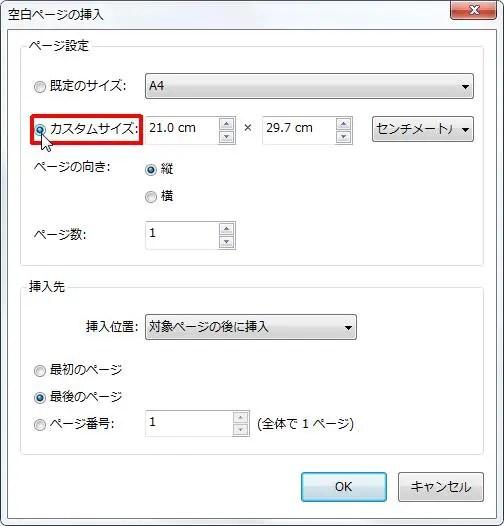 [ページ設定] グループの [カスタムサイズ] オプション ボタンをオンにすると挿入するページのサイズをカスタマイズできます。