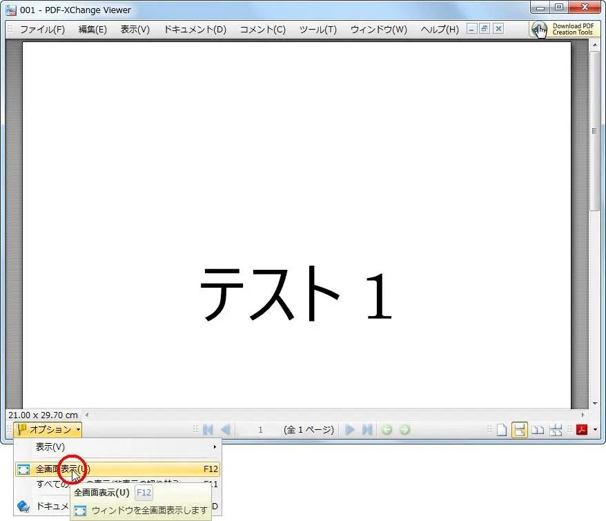[ドキュメントのオプション] の [全画面表示] をクリックするとPDFが全画面で表示されます。