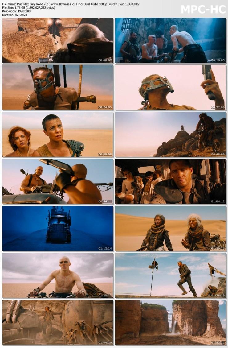 Download Mad Max Fury Road 2015 Hindi Dual Audio 720p BluRay ESub 870MB