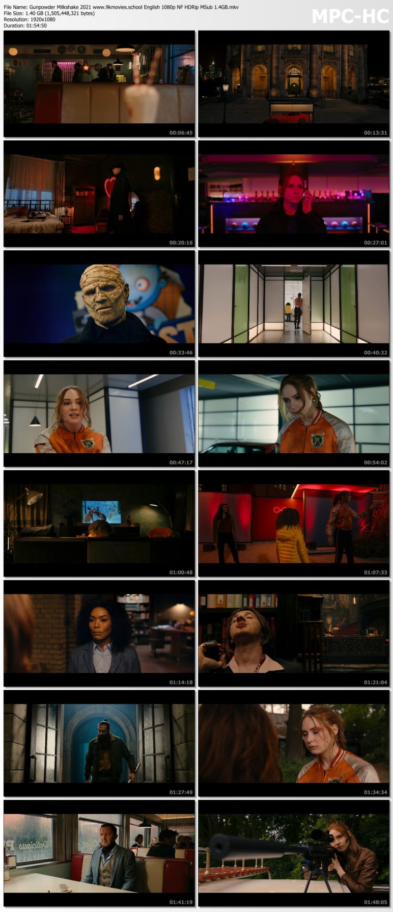 Download Gunpowder Milkshake 2021 English Movie 1080p NF HDRip MSub 1.4GB