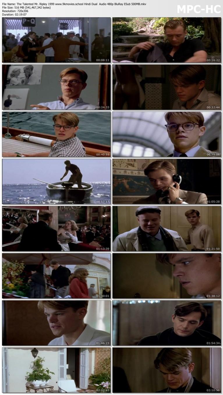 Download The Talented Mr. Ripley 1999 Hindi Dual Audio 480p BluRay ESub 500MB