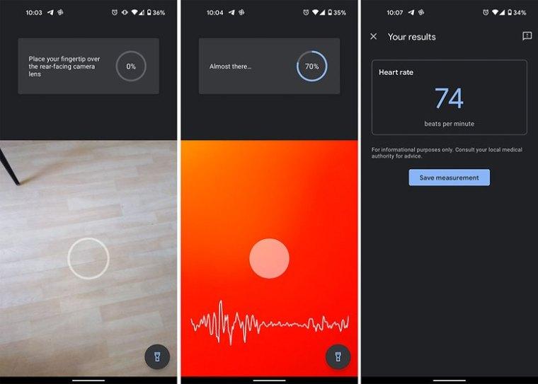google fit app pixel heart rate