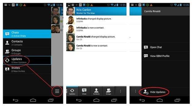 AndroidPIT BBM HideUpdates