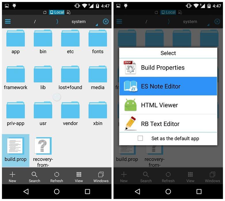 Сборка системы устройства AndroidPIT ES File Explorerprop edit
