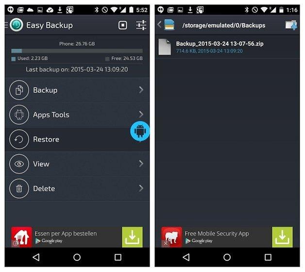 AndroidPIT Easy Backup restore backup
