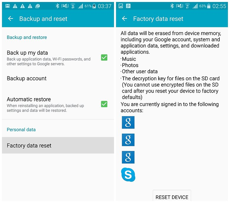 AndroidPIT Galaxy Note 4 сброс заводских данных резервное копирование Google