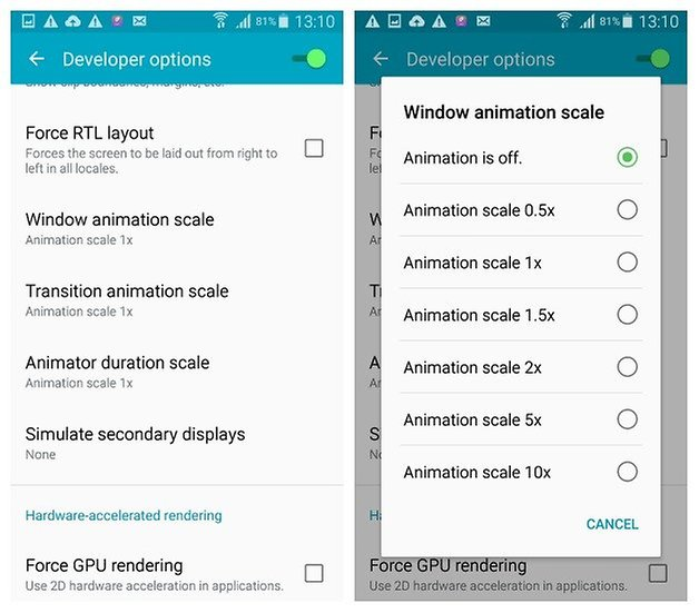 AndroidPIT Galaxy S4 Android 5 0 1 Lollipop Developer Options масштаб анимации окна