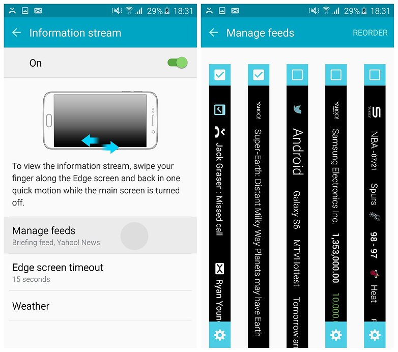 Каналы информационных потоков AndroidPIT Galaxy S6 Edge TouchWiz