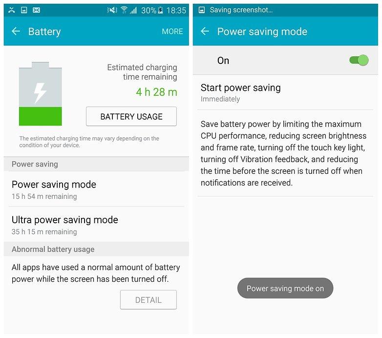 AndroidPIT Galaxy S6 Edge TouchWiz режим энергосбережения включен