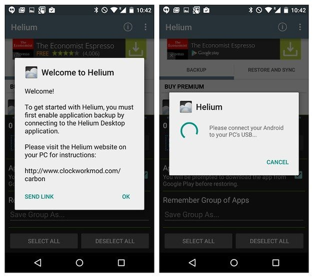 AndroidPIT Helium Backup добро пожаловать, подключение