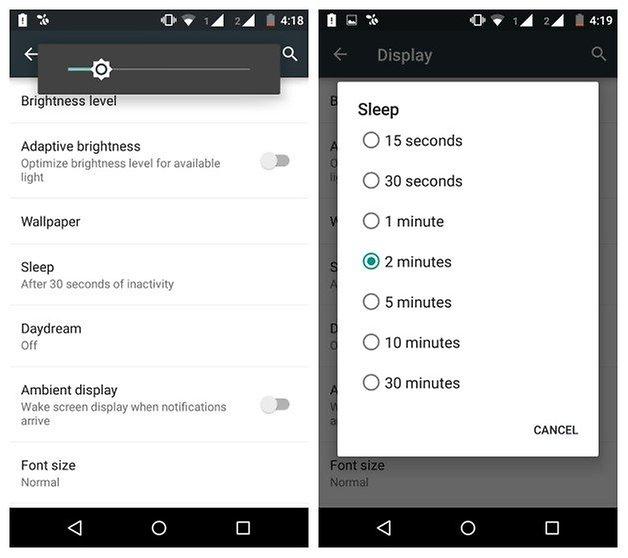 AndroidPIT Moto G 2014 Тайм-аут яркости экрана батареи