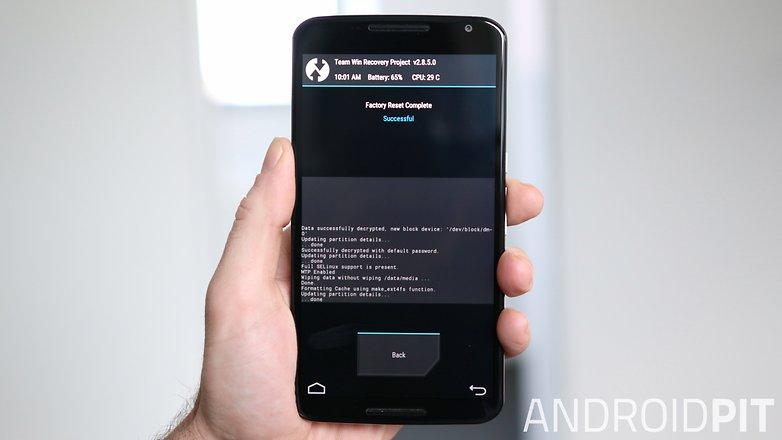 Восстановление заводских настроек AndroidPIT Nexus 6 TWRP Recovery завершено