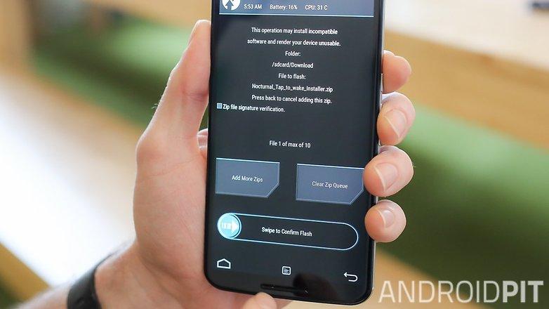 AndroidPIT Nexus 6 TWRP: слайд для восстановления прошивки